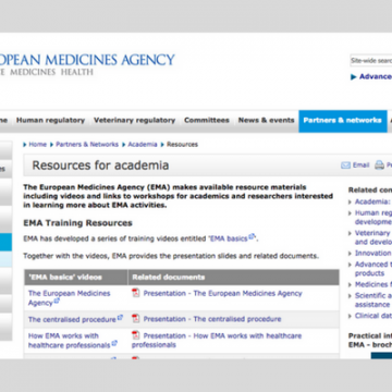 Training Resources of European Medicines Agency