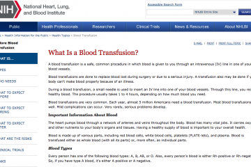 Transfusión de sangre: National Heart, Lung and Blood Institute