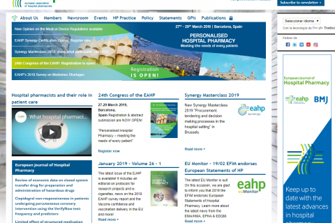 Web de la European Association of Hospital Pharmacists